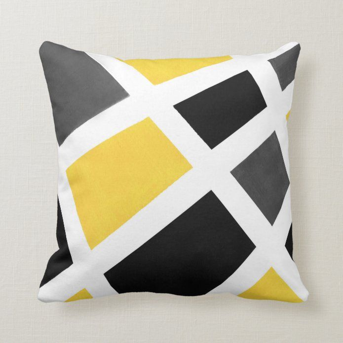 Yellow Gray Black White Geometric Throw Pillow Zazzle Com Geometric Throw Pillows Geometric Throws Throw Pillows