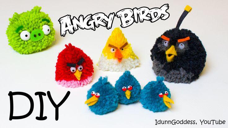 DIY Angry Birds Toys – How To Make Angry Birds Fluffy Pom-pom Toys