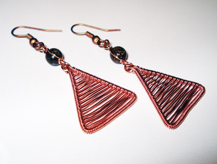 Coppper Wire Triangle Earrings by IALINA