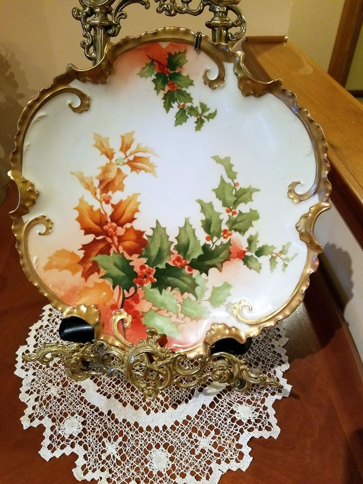 Limoges Hand Painted Holly Berry Charger Wall Plaque, Artist Signed