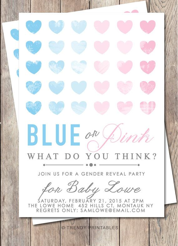 Gender Reveal Invitation Gender Reveal Party by TrendyPrintables