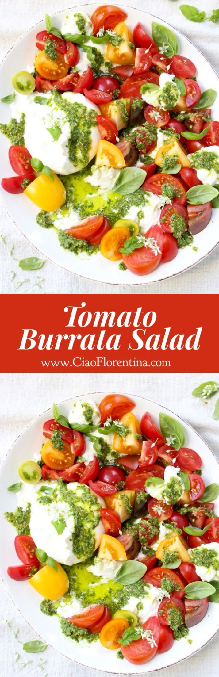 Tomato Burrata Salad Recipe, Burrata Caprese with Heirloom Tomatoes and Basil Pesto | CiaoFlorentina.com @CiaoFlorentina