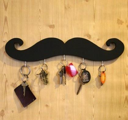 black mustache key hookKeys Hooks, Ideas, Black Mustaches, Keys Rings, Mustaches Keys, Whiskers, House, Keys Holders, Crafts