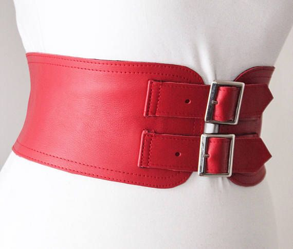 Red Corset Leather Two Gold Buckle Belt  Red Corset Belt