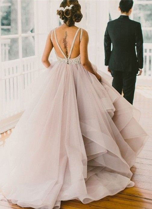 Glamorous Ball Gown, Sexy Backless Prom Dresses, Lace