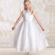 2017 Lace Flower Girls Long Dresses For Weddings Appliques Tulle Satin Pageant Dresses For Girls Custom Made dress girl //FREE Shipping Worldwide //