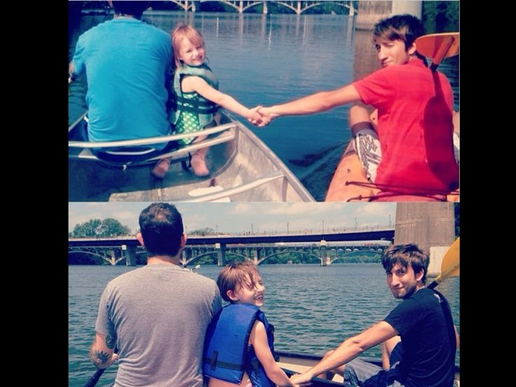 Geoff Ramsey, Millie Ramsey, and Gavin Free. Photo taken 5 years apart.