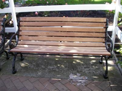 ipe garden bench in the empress hotel victoria bc