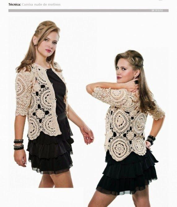 Patrones de blusa tejida con ganchillo mangas cortas y botones delanteros
