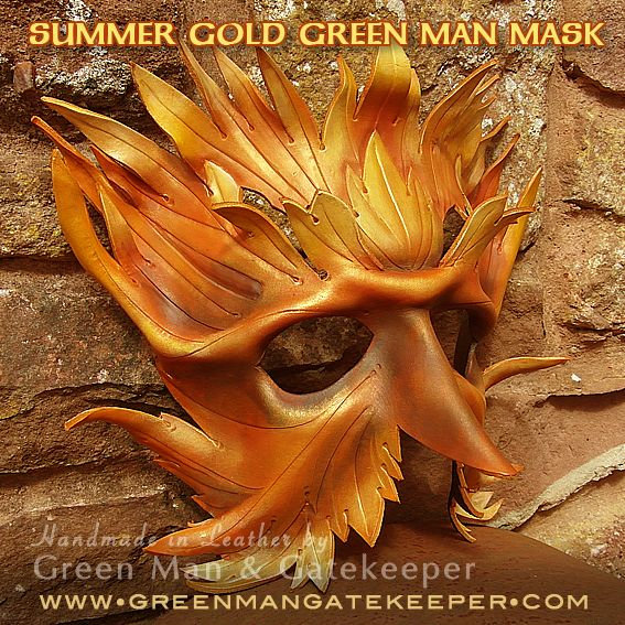 Summer Gold Green Man Mask for Solstice and Lammas