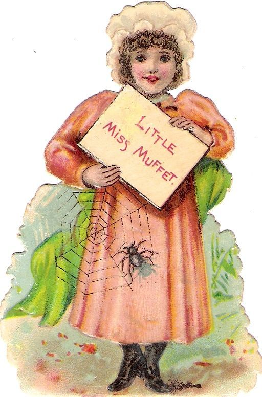 Oblaten Glanzbild scrap die cut chromo Märchen fairy tale little miss Muffet