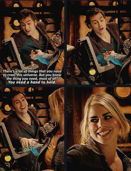 10 and his dear Rose Tyler! Looking back, this is a very sad moment, because he won't always have a hand to hold...