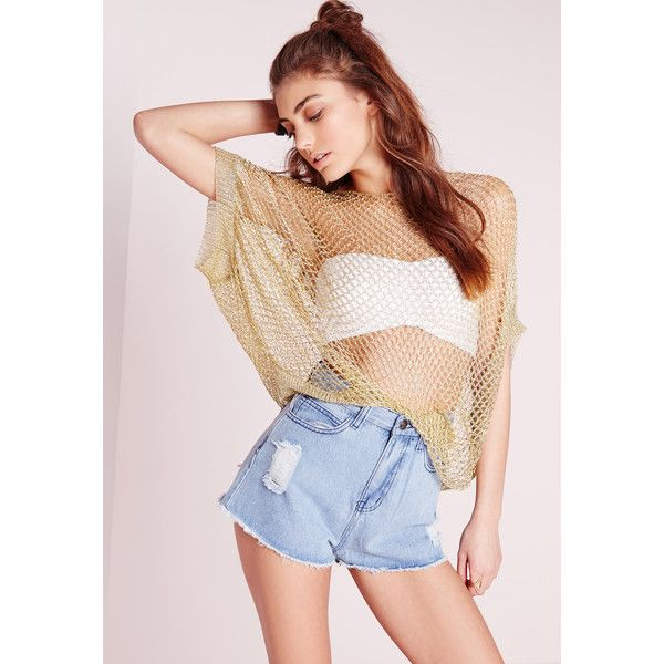 Missguided Boxy Metallic Fishnet Top ($17) ❤ liked on Polyvore featuring tops, gold, pink bandeau top, long tops, bandeau tops, pink bandeau bikini top and pink fishnet top