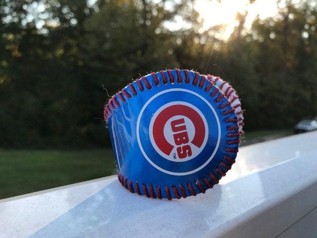 Chicago Cubs logo Baseball Bracelet Cuff by deniseandkimdesigns on Etsy