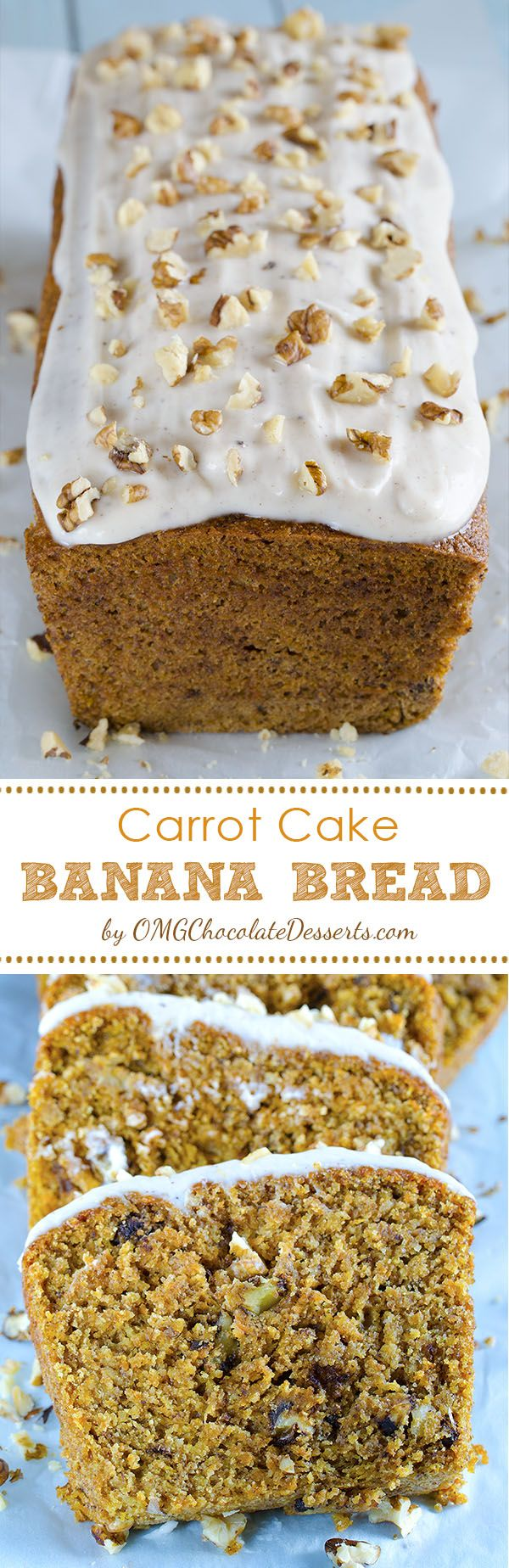 """This Carrot Cake Banana Bread is melt-in-your-mouth-moist and flavorful and you couldn't even tell there were carrots in it. Whole wheat bread with banana, carrots and nuts is a real energetic bomb and a great excuse to have a """"cake"""" of a breakfast"""