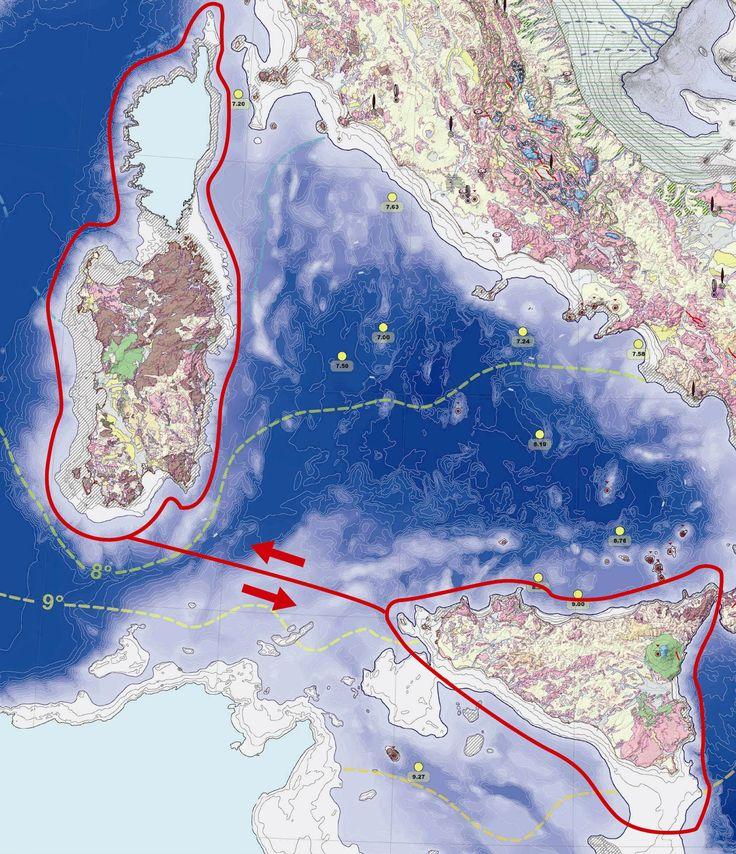 Tav. 2– Rotte, segnate in rosso, battute dai primevi marinai del Mediterraneo, atte alla valutazione della grandezza della Sardegna e della Sicilia. Il tracciato è riportato sulla Map 1 – Last Glacial Maximum, Copyright del Museo Giovanni Capellini 2004.