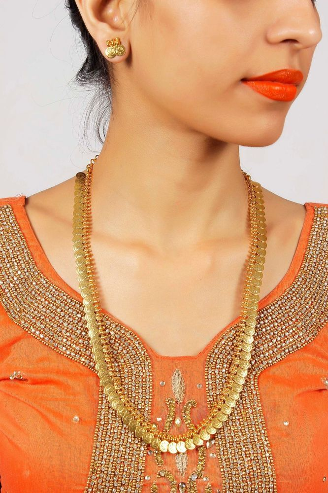 2046 South Indian Ethnic Bollywood Jewelry Gold Plated Necklace & Earrings Set #MUCHMORE