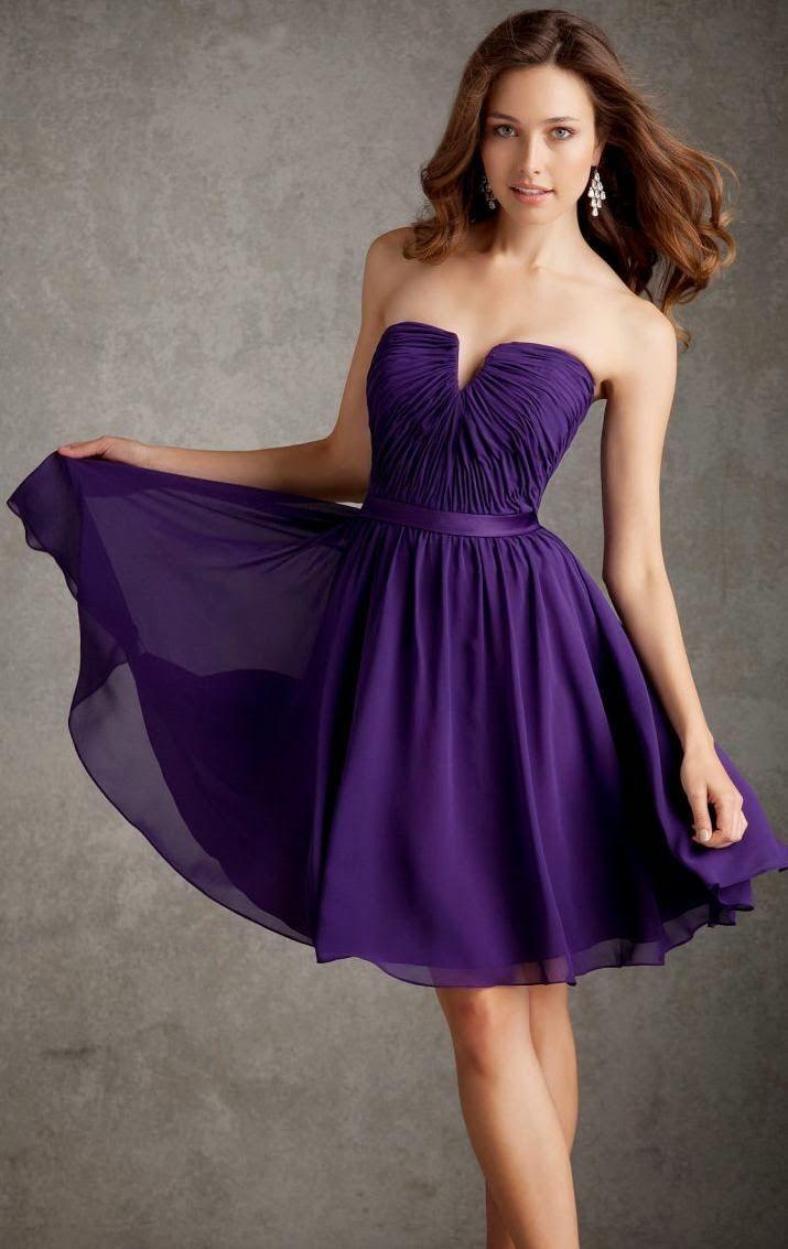 Modelos de Vestidos Cortos de color Morado, Purpura o Lila