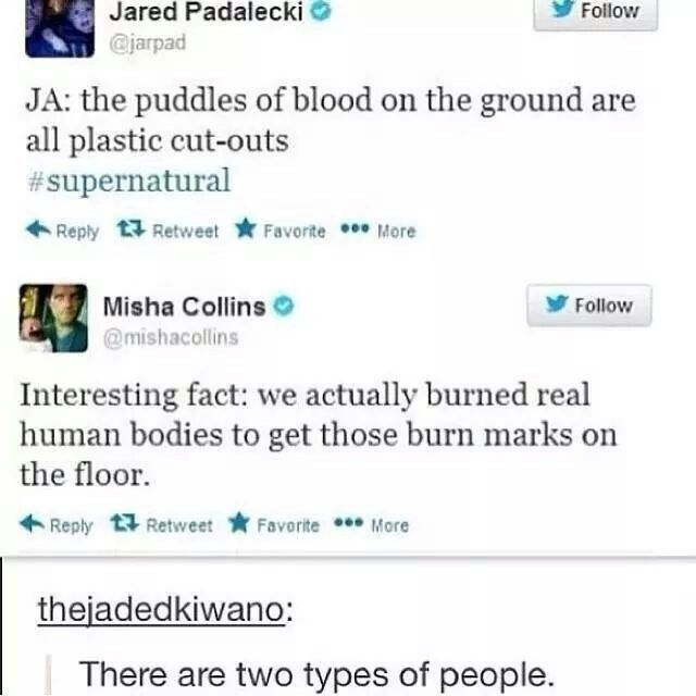 Jensen (who was live tweeting with Jared, but he doesn't have twitter so Jared tweeted for him) and Misha