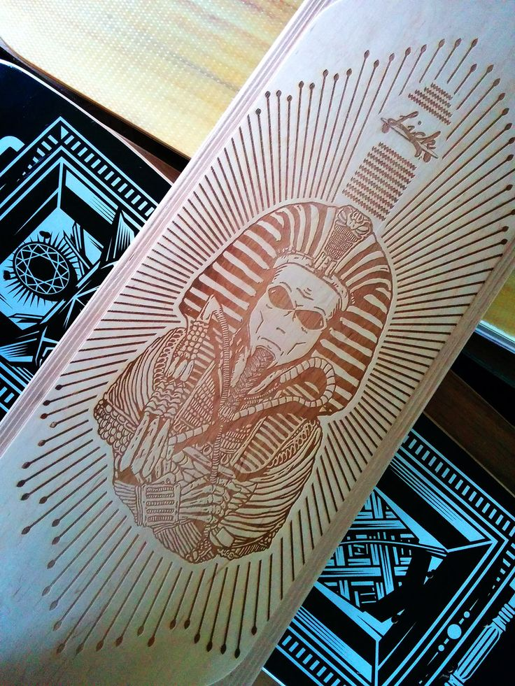 Lasered out Pharaoh on the Lick Longboards deck. Do you want your original laser print too?! Contact us at hello@99factory.com  #99factory #european #longboard #manufacturer #pharaoh #laser #printed #original #lick #longboards