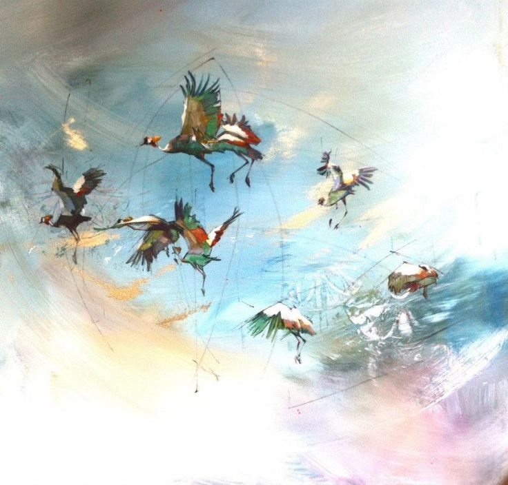 Crowned Cranes on paper