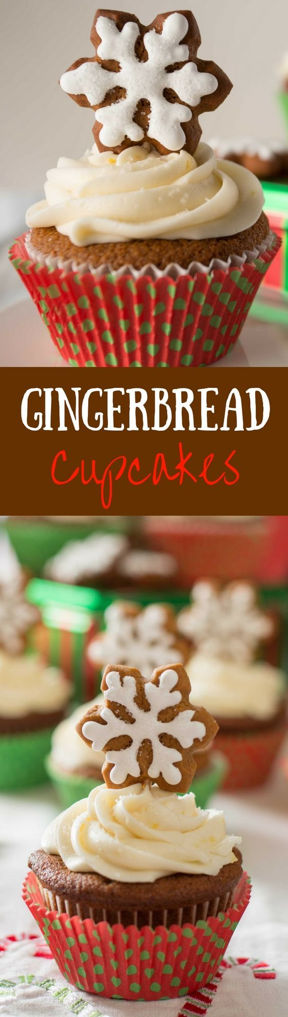 Gingerbread Cupcakes - A robust ginger flavored cupcake with a sweet lemon buttercream frosting. Topped with a gingerbread cookie these make a fun presentation for the holidays! www.savingdessert.com