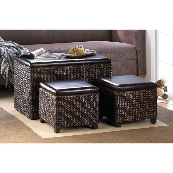 Rush trunk and ottomans 3 piece dark brown woven wicker sytle storage set~15230  sc 1 st  Pinterest & 207 best Baskets u0026 Stuff images on Pinterest | Antique farmhouse ... islam-shia.org