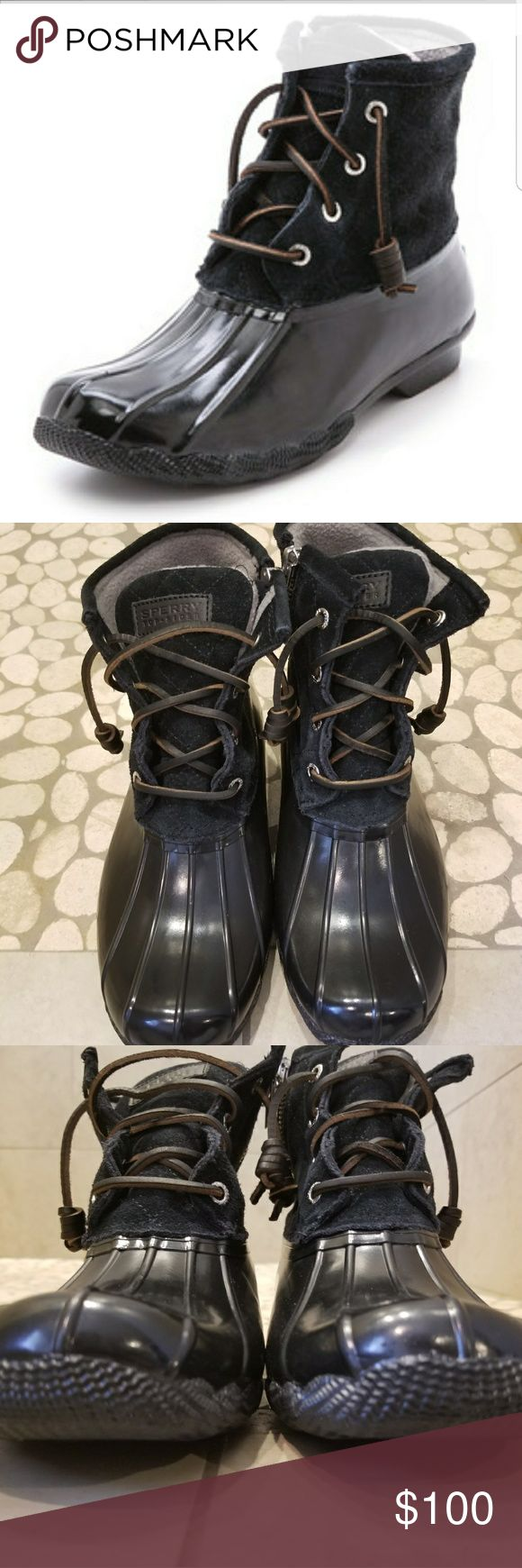 Sperry Top Sider Saltwater Rubber Duck Rain Boots Pre owned but still in good condition  Comes from a pet and smoke free home   All sales are final but feel free to ask as many questions as you like and for as many pictures as you like   Thank you and check out my other listings Sperry Shoes Winter & Rain Boots
