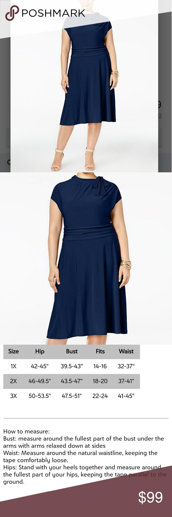 COMING SOON! ➕(1X-3X) Navy Cap Sleeve Dress Midi length, sleek and straight.  Ruching around the waist and a tie shoulder.  95% poly, 5%spandex.  Nice weight.  More pics to come... Dresses