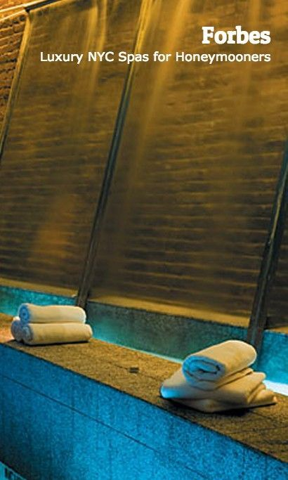 At the Great Jones Spa in Manhattan, enjoy a luxurious tropical oasis, equipped with a sauna, plunge pool, thermal hot tub, chakra-light steam room, salon, organic juice bar, and a 3-story waterfall. Perfect for a NYC honeymoon.