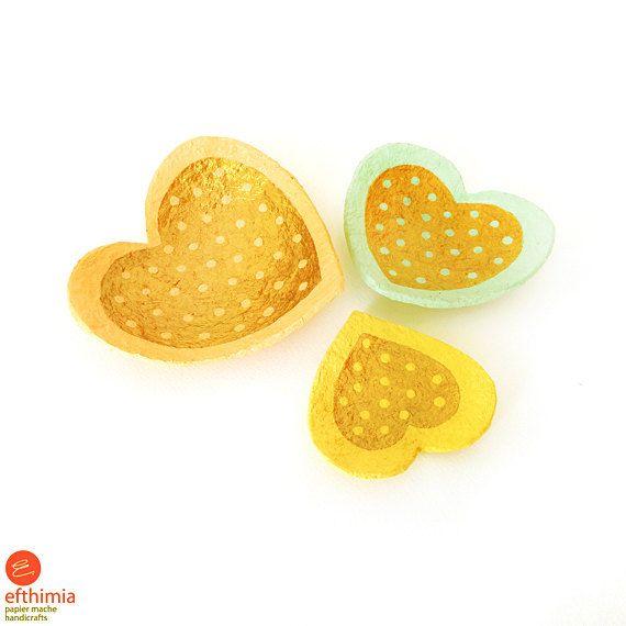 Papier mache heart shaped jewelry by EfthimiaPapierMache on Etsy
