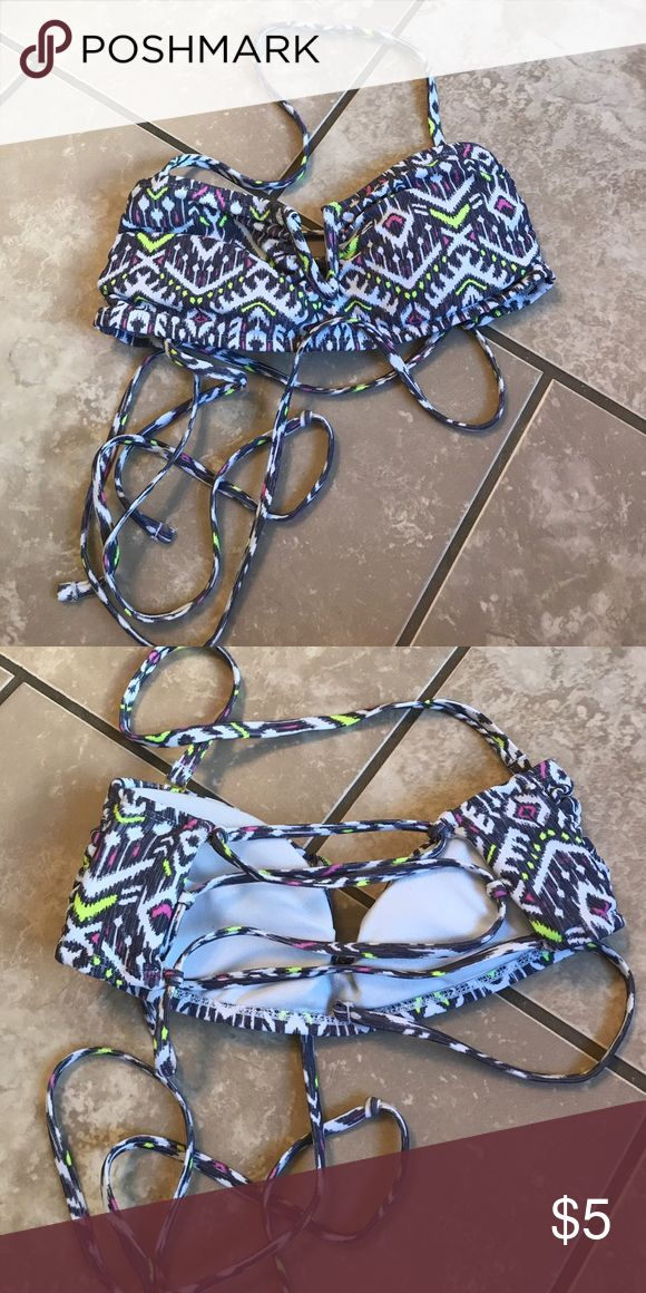 Lace up Bandeau Top grey with neon yellow and pink Only worn once grey with neon yellow and pink! Has neck strap that is removable size medium Xhilaration Swim Bikinis