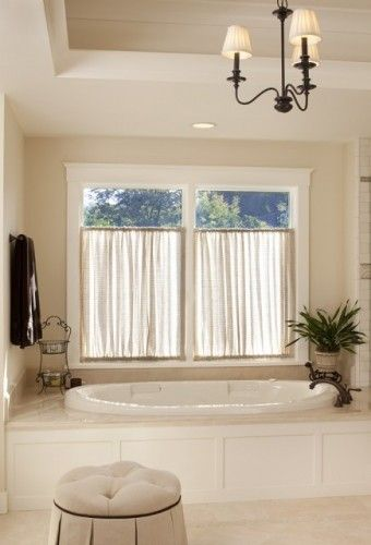 Bathroom window treatment - like - brings more light into the bathroom - instead of having blinds!