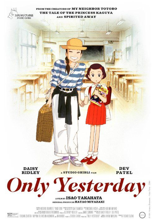 Only Yesterday (1991) Omohide poro poro (original title) PG | 1h 58min | Animation, Drama, Romance | 26 February 2016 (USA)   A 27-year-old office worker travels to the countryside while reminiscing about her childhood in Tôkyô. Director: Isao Takahata Writers: Hotaru Okamoto (manga), Isao Takahata | 1 more credit » Stars: Miki Imai, Toshirô Yanagiba, Youko Honna | See full cast & crew » 90  Metascore From 18     7.7/10 12,003