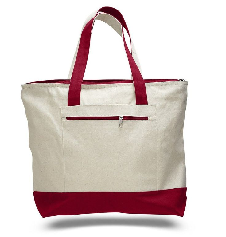Heavy Weight Large Fancy Canvas Tote Bag with Zippered Pocket