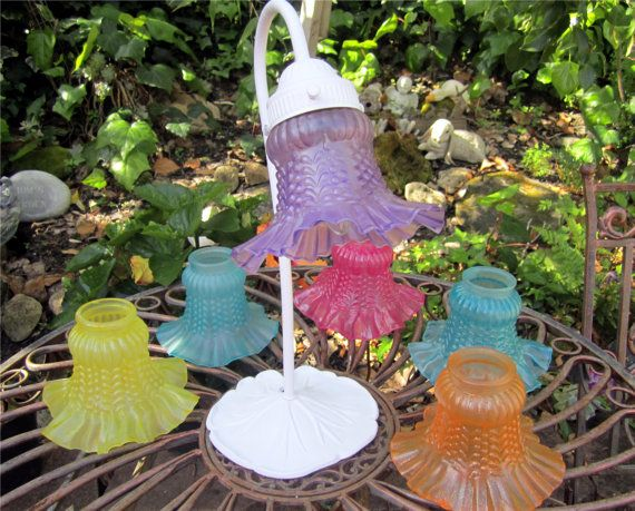Vintage Repurposed  Hand Painted Glass Ruffled Edge Light Shades/Chandelier Shades/Ceiling Fan Light Shades/Yellow,Aqua,and Orange GOOD IDEA FOR UGLY FAN SHADES