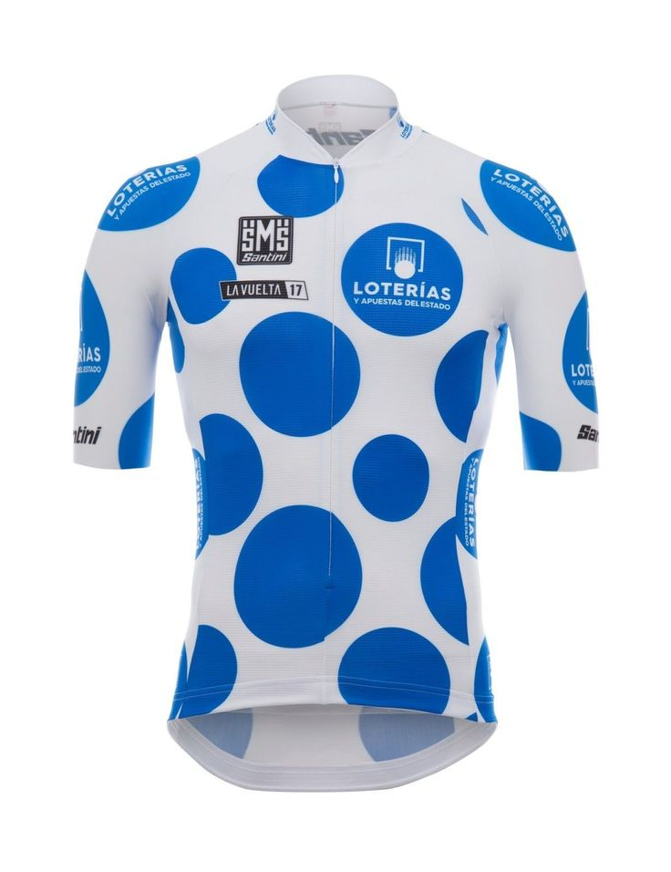2017 La Vuelta King of the Mountains blue Polka Dot Cycling Jersey: by Santini
