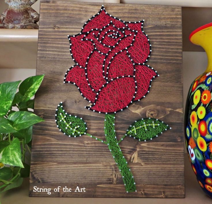 DIY String Art Kit - Rose, Rose String Art, Rose Crafts Kit, Rose Decor, DIY Kit, w/ String, Pattern, Nails, Instructions, Stained Wood by StringoftheArt on Etsy https://www.etsy.com/listing/271849900/diy-string-art-kit-rose-rose-string-art