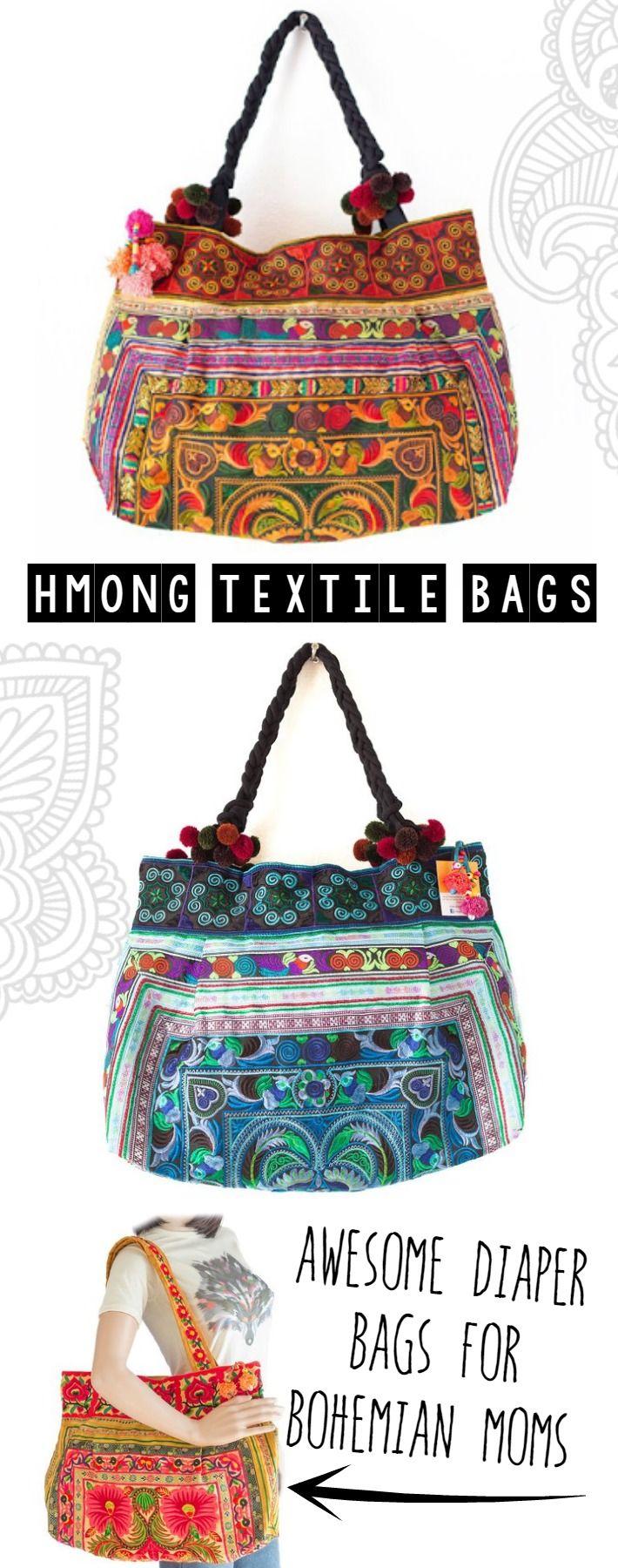 Hmong Textile Bohemian Mom Bags {boho hippie diaper bags under $40}