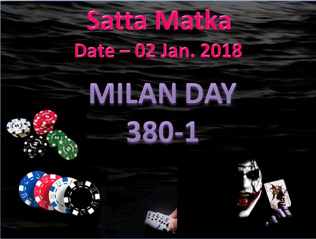 MILAN DAY OPEN FIGURE Date- 02 Jan 2018 just chess your Luck #satta #matka #sattaking http://sattaking143.mobi/