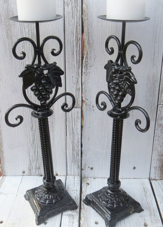 Black candle holders distressed candle holders by ChippedPaints