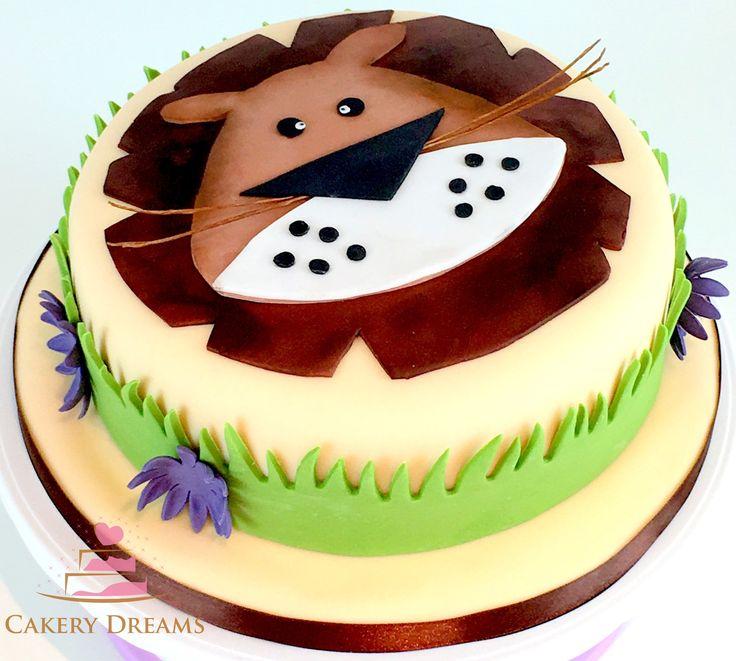 Fondant-Torten Basiskurs - die Ergebnisse können sich sehen lassen. www.cakerydreams.de #cake #safari #löwe #leo #motivtorte #fondant #torte