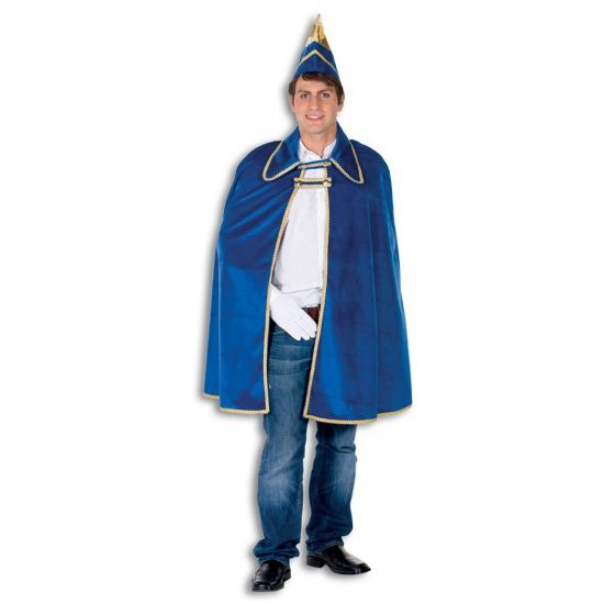 Blauwe prins carnaval cape  Blauwe Prins Carnaval kostuum voor volwassenen. Dit Prins Carnaval kostuum bestaat uit een een mooi blauwe cape met gouden details inclusief de prinsenhoed. Dit kostuum is perfect te combineren met bijvoorbeeld een spijkerbroek en een wit overhemd. Het kostuum is een one size fits all lengte is ca. 90 cm.  EUR 69.95  Meer informatie