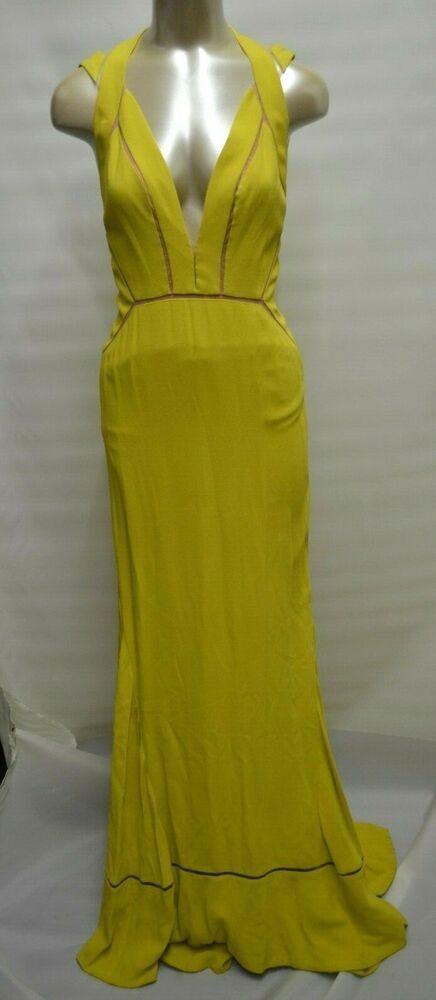 6927ae31133b BCBG Max Azria ATELIER Gown Yellow Train Maxi RED CARPET DRESS *4 #MaxAzria  #BallGown #Formal