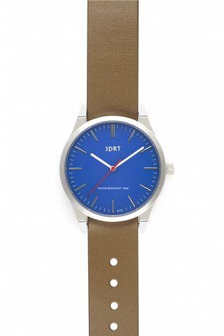 Azure Face with Taupe Leather Watch Band