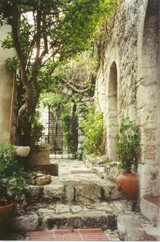 A gorgeous courtyard in Eze, France.