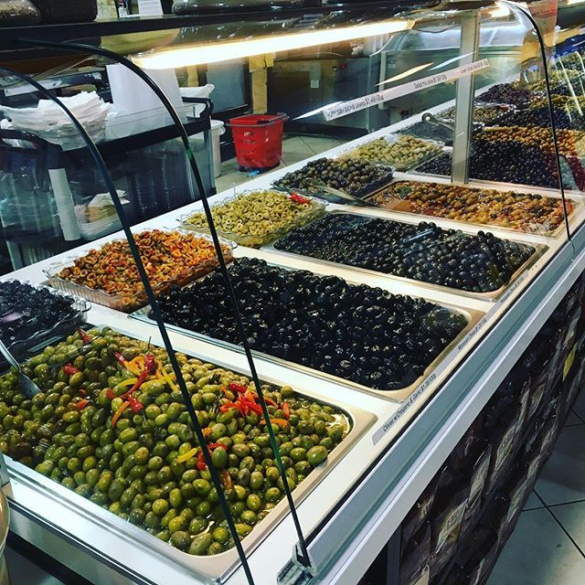 The olive bar at ARZ Grocery ...wonderful !