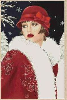 Cross Stitch Chart ART DECO LADY WITH RED COAT with Backkground No. 8vb-53