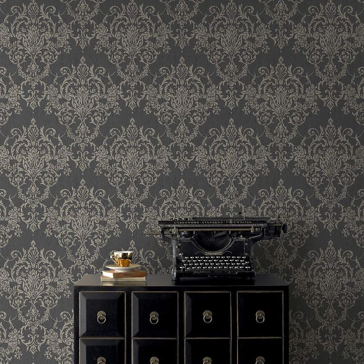 Superfresco Easy Black/Gold Victorian Damask Wallpaper