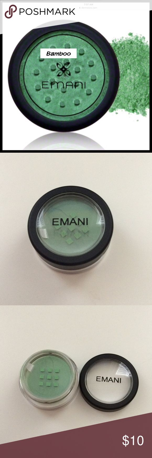 Emani Crushed Minerals Color Dust #828 Bamboo Brand New!! Vegan, Toxin Free, Organic, Cruelty Free  100% pure mineral pigments for eyes, lips or face made completely free of talc or fillers. Emani Mineral Color Dust goes on sheer or for an intense finish, just wet brush and apply. Blend with an Emani base Transformer to create beautiful colors. Emani Makeup Eyeshadow